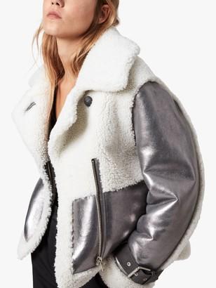 AllSaints Farley Metallic Shearling Suede Jacket, Silver Grey