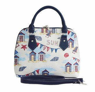 Signare Tapestry Handbags Shoulder bag and Crossbody Bags for Women with Fashion Pattern Designs (Beach Hut CONV-BHUT)