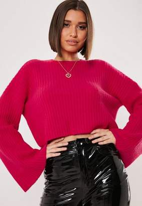 Missguided Raspberry Ribbed Crew Neck Flare Sleeve Sweater