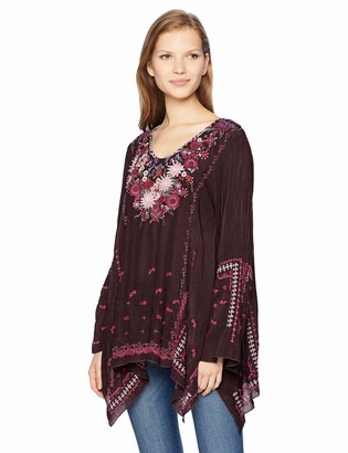 Johnny Was Women's V-Neck Bell Sleeve Blouse with Applique