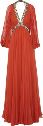 Jenny Packham Open-back Beaded Tulle-paneled Silk Crepe De Chine Gown
