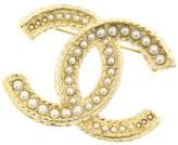 Chanel CC Logo Gold Tone Metal Faux Pearl Pin Brooch