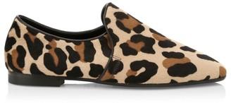 Aquatalia Revy Leopard-Print Calf Hair Loafers