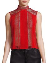 Alice + Olivia Jannette Lace Panel Top