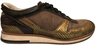 Lanvin Gold Python Trainers