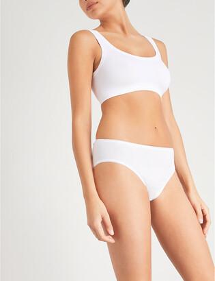 Hanro Women's White Seamless Midi Cotton Briefs, Size: L