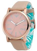 Roxy Women's RX/1000RGRG THE VICTORIA Rose Gold-Tone and Cream Canvas Strap Watch