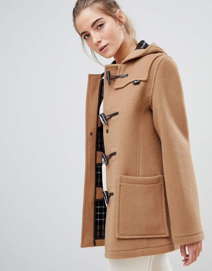 Gloverall slim mid length duffle coat in wool blend