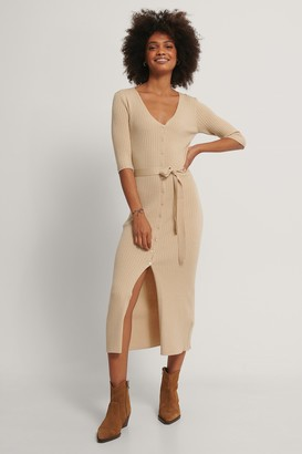 NA-KD Belted Ribbed Knitted Midi Dress