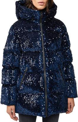 Mackage Long Hooded Down Jacket w/ Sequins