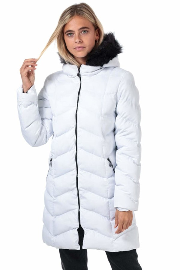 Thumbnail for your product : Brave Soul Womens Kylie Long Padded Jacket - White/Black - 10 UK