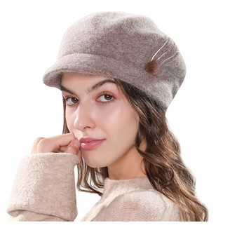 Whycat News Boy Hat for Wome Winter Hat with Brim Wool Knit Beret Baker Boy Cap