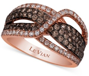 LeVian Le Vian Chocolatier Diamond Crisscross Statement Ring (1-1/5 ct. t.w.) in 14k Rose Gold