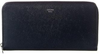 Celine Large Leather Zip Around Wallet