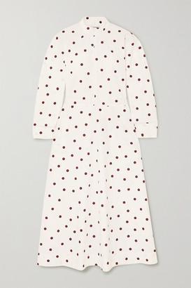 Ganni Polka-dot Cotton-poplin Maxi Dress - Ivory