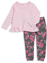 Splendid Girls 2-6x Ruffled Sweater and Floral Leggings Set