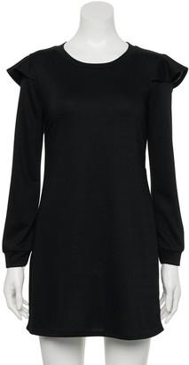 Juniors' Lily Rose Ruffled Shoulder Sweatshirt Dress