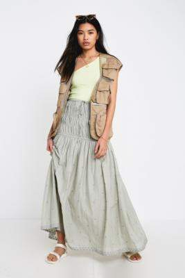Urban Outfitters Premium Embroidered Maxi Skirt - green XS at