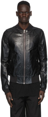 Rick Owens Black Leather Raglan Bomber Jacket