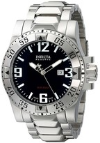 Invicta Men's 5672 Excursion Quartz 3 Hand Black Dial Link Watch - Silver