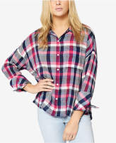 Sanctuary Cotton Checked Plaid Boyfriend Shirt