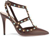 Valentino Rockstud embellished textured-leather pumps