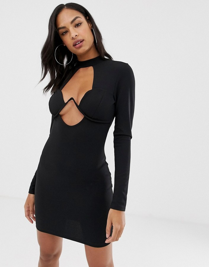 Asos Design DESIGN long sleeve underwire mini bodycon dress