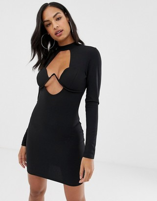 Asos Design DESIGN long sleeve underwire mini bodycon dress-Black