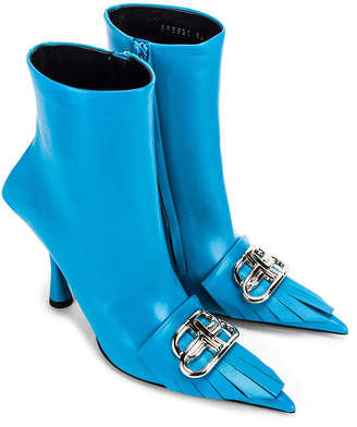 Balenciaga Fringe Knife Booties in Turquoise & Silver   FWRD