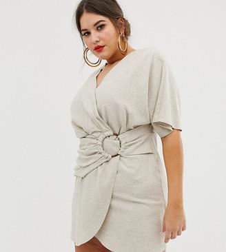 Asos DESIGN Curve mini dress in slubby cotton with ring detail-Beige