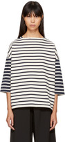 YMC Ecru & Navy Striped Sweatshirt