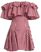 House of Holland Off-the-shoulder gingham dress