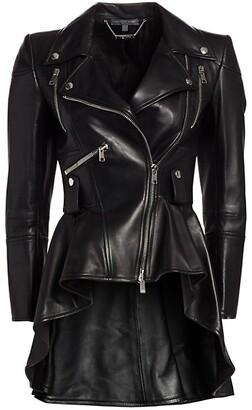 Alexander McQueen Leather Peplum Moto Jacket