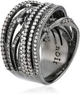 Noir Clear Pave Interlaced Wrap Ring, Size 7
