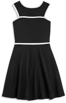 Aqua Girls' Contrast Trim Textured Skater Dress, Sizes S-XL - 100% Exclusive