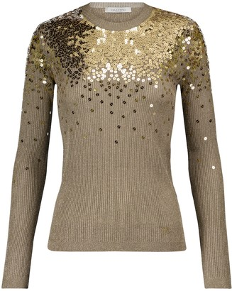 Valentino sequined ribbed-knit sweater