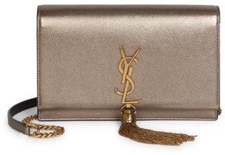 Saint Laurent Kate Tassel Metallic Leather Shoulder Bag