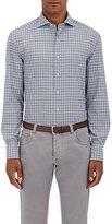 Barneys New York Men's Plaid Cotton Shirt-NAVY