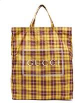 Gucci Checked-print Shell Tote Bag - Womens - Yellow Multi