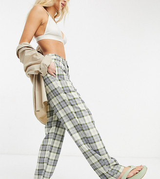 Stradivarius slouchy dad pants in check