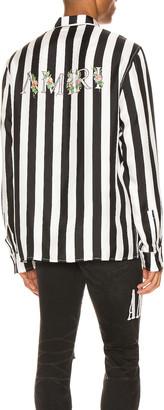 Amiri Striped Floral Shirt in Black / White | FWRD
