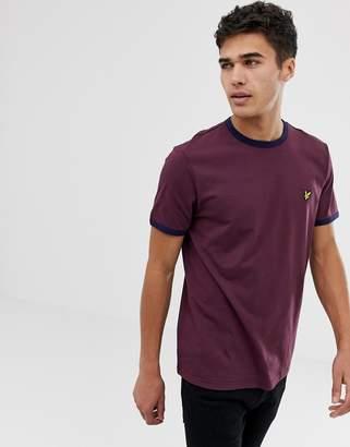 Lyle & Scott logo ringer t-shirt in burgundy-Red