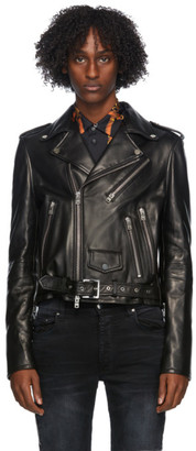 Amiri Black Leather Lightweight Biker Jacket