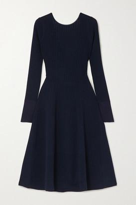 Victoria Beckham Tie-detailed Ribbed-knit Midi Dress - Navy