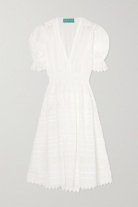 Waimari Lumiere Shirred Guipure Lace-trimmed Voile Midi Dress - White