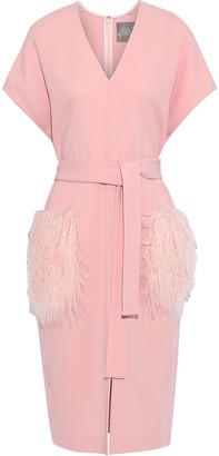 Lela Rose Tie-front Shearling-paneled Wool-blend Crepe Dress