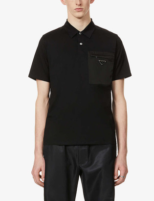 Prada Brand-plaque patch-pocket stretch-cotton polo shirt