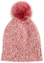 Sofia Cashmere Marled Cashmere Pompom Beanie Hat, Red