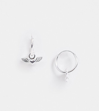 Angel Heart Asos Design ASOS DESIGN sterling silver hoop earrings with charm