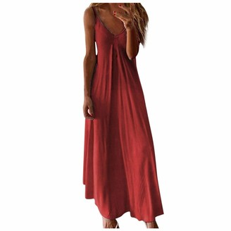 Gofodn Ladies Dresses for Women UK Plus Size Sexy Maxi Summer Casual Gradient Sleeveless V Neck Loose Sling Beach Dress Red
